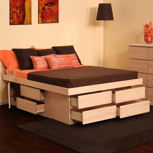 plattform betten mit fächern ausgestattet holz praktisch kompakt