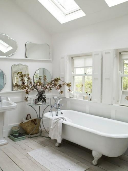 rustikale badezimmer design ideen badewanne beine weiß