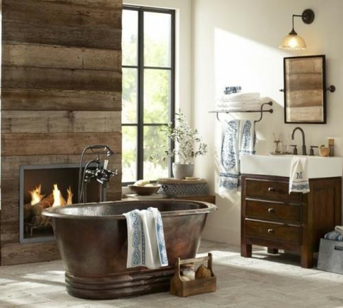 rustikale badezimmer design ideen badewanne metallisch sockel