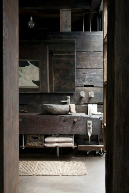 rustikale badezimmer design rau formen linien