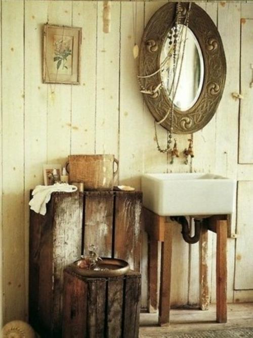 rustikale badezimmer design  waschbecken quadratisch beine