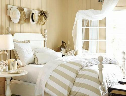 schöne deko ideen mit hüten bett schlafzimmer