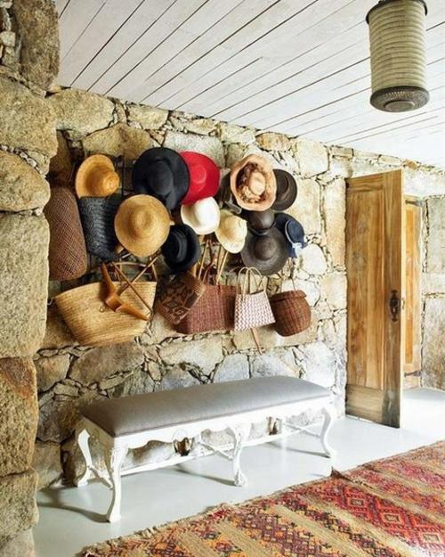 elegante deko ideen mit hüten elegant klassisch bank grau auflage