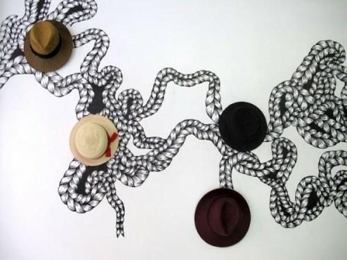schöne deko ideen mit hüten wand tatto originell