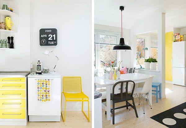 schöne küchen farbschema buttergelbe möbel modern