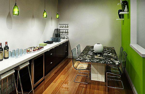 schöne küchen farbpalette grün pendelleuchten arbeitsplatte