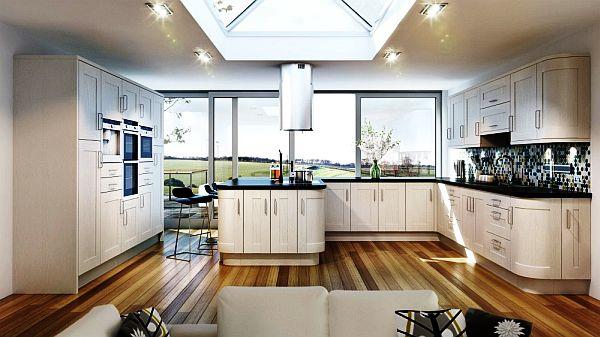 schöne küchen farbpalette holz bodenbelag weiß möbel städtisch
