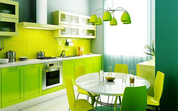 schöne küchen farbpalette weiß grün leuchtend nuancen esstisch