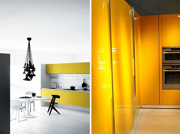 schöne küchen farbschema weiß schwarz grell gelb oberflächen