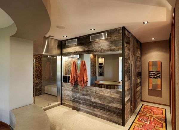 schöne wohnzimmer wände:Reclaimed Wood Bathroom Wall Idea