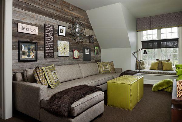 schöne wandgestaltung ideen grau bemalt holzplatten dachgeschoss