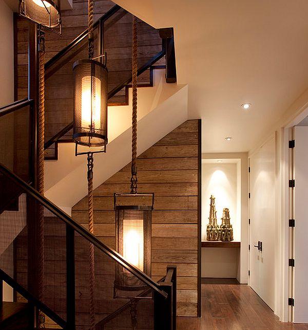 schöne wandgestaltung ideen holz platten treppenhaus