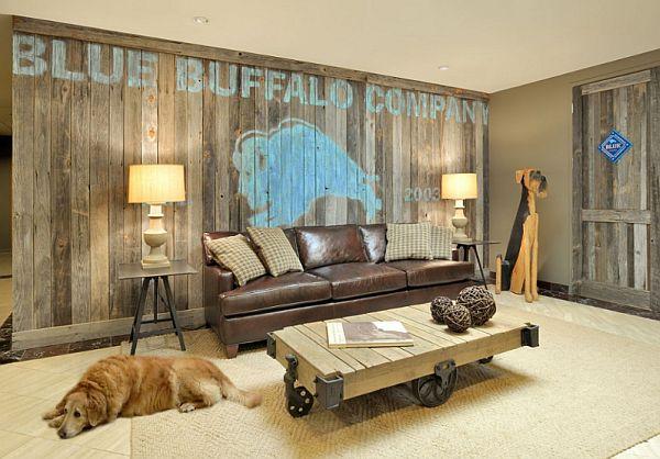 Schöne Wandgestaltung Ideen Wohnzimmer Malerei Leder Sofa
