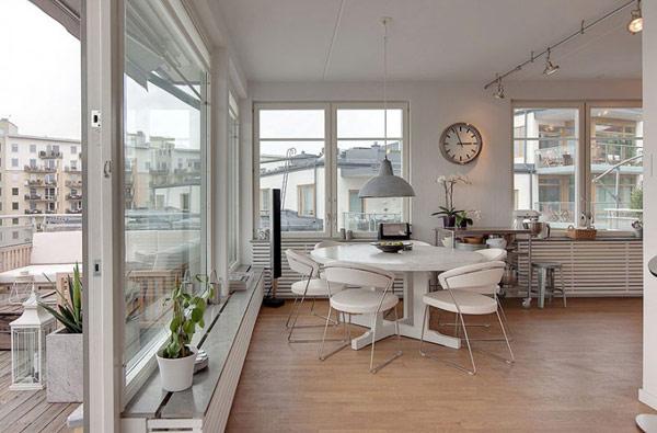 schönes modernes dach apartment essmöbel essbereich weiß