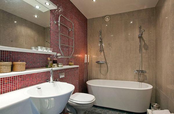 schönes modernes dach apartment mosaik fliesen bordo badewanne bad