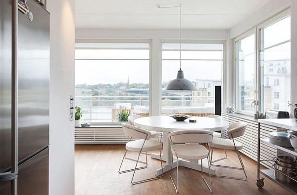 schönes modernes dach apartment städtisch essbereich