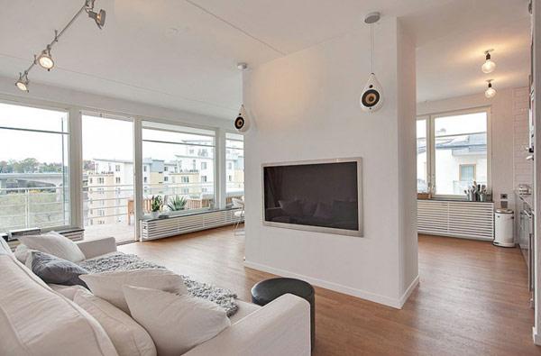 schönes modernes dach apartment weiß sofa wohnbereich