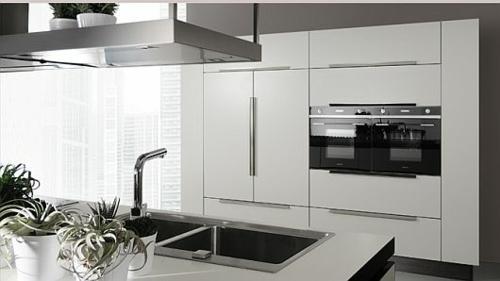 schicke küchen designs weiß glanzvoll eingebaut küchengeräte schränke
