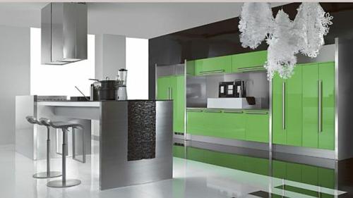 schicke küchen designs weiß glanzvoll grüne oberflächen