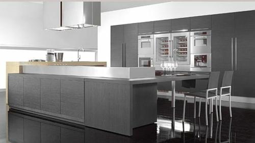 originelle küchen designs weiß glanzvoll grau holz platten