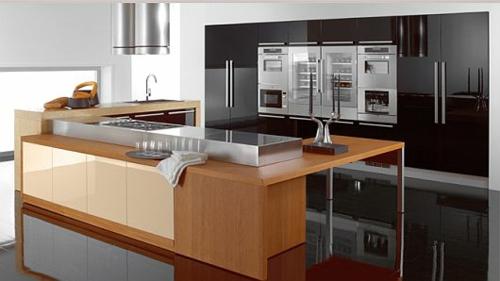 originelle küchen designs weiß glanzvoll holz arbeitsplatte