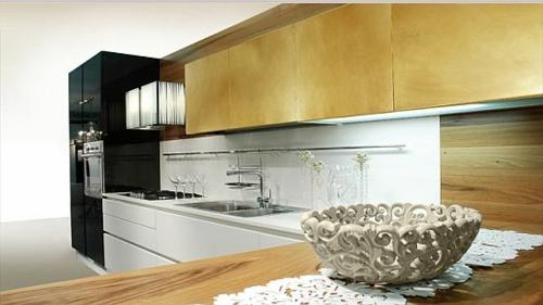 schicke küchen designs weiß glanzvoll klassisch extravagant deko