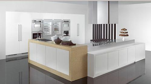 schicke küchen designs weiß glanzvoll minimalistisch