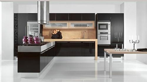 schicke küchen designs weiß glanzvoll schwarz weiß einrichtung