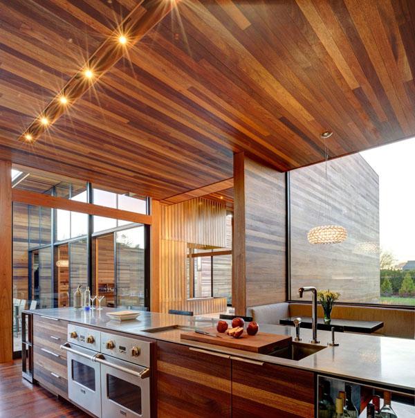 schicke moderne holz küchen designs kochplatte spüle