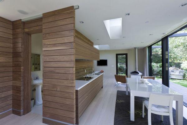 schicke moderne holz küchen designs platten wand essbereich