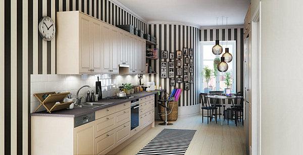 skandinavische küchen designs gestreifte wände