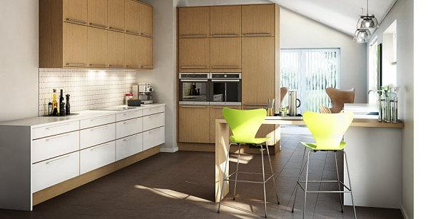 skandinavische küchen designs holz grün barstühle