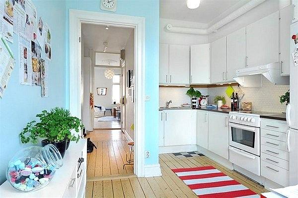 skandinavische küchen designs holz meerblau wandgestaltung