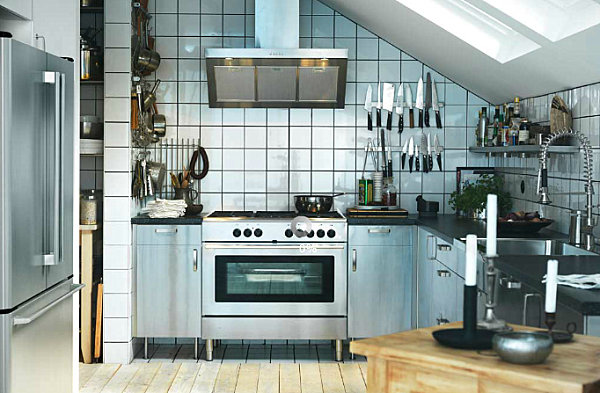 skandinavische küchen designs holz metallisch glanzvoll