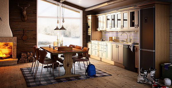 skandinavische küchen designs holz pendelleuchten teppich