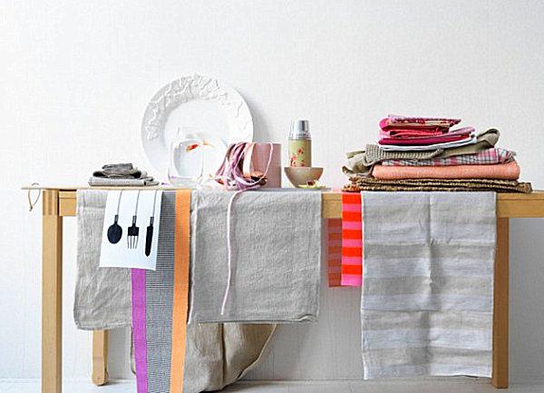 skandinavische küchen designs holz stoff teller