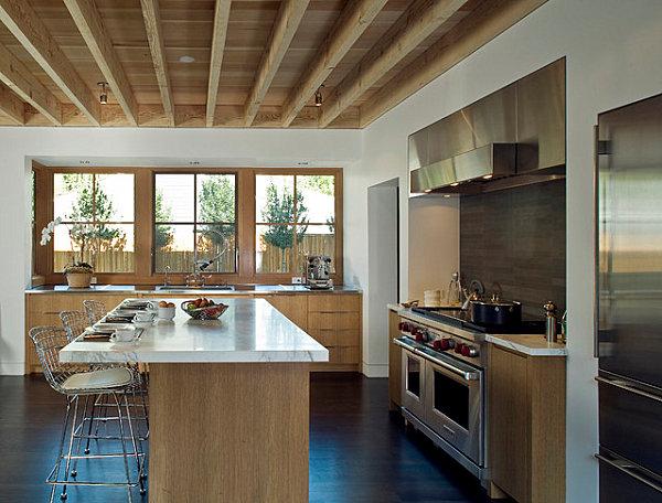 skandinavische küchen designs holz tisch rahmen fenster decke