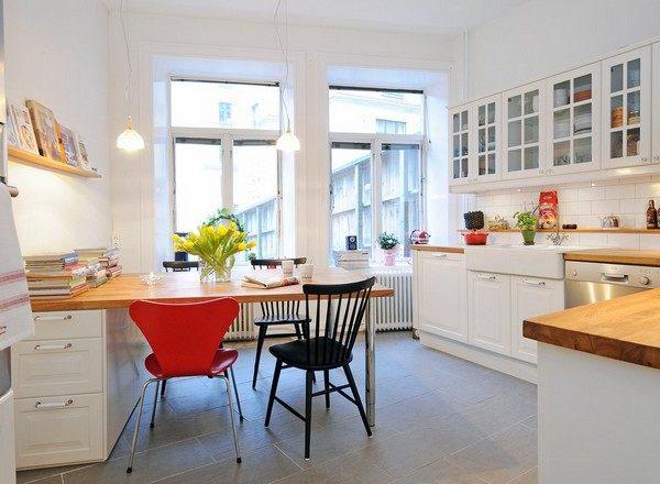 skandinavische küchen designs holz tischplatte orange essstühle