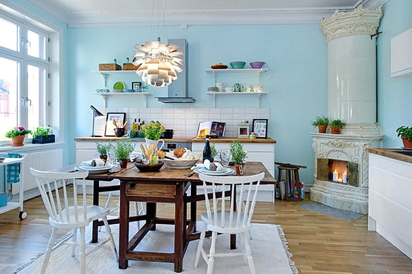 skandinavische küchen designs küchenregale rustikal blau wand
