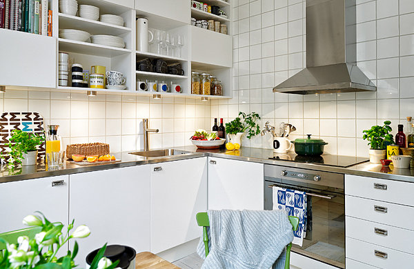 skandinavische küchen designs küchenregale schalen geschirr