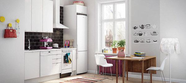 skandinavische küchen designs kompakt raum weiß hell