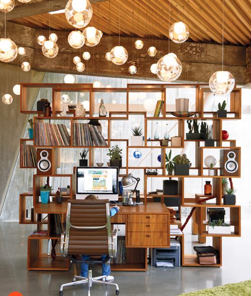 Skurrile Home Office Ideen Holz Schreibtisch Regale Modular