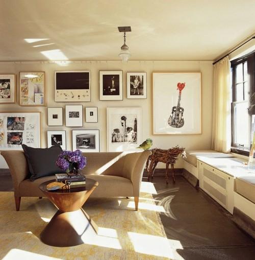 sonnig wohnzimmer modern städtisch urban einrichtung wandgestaltung