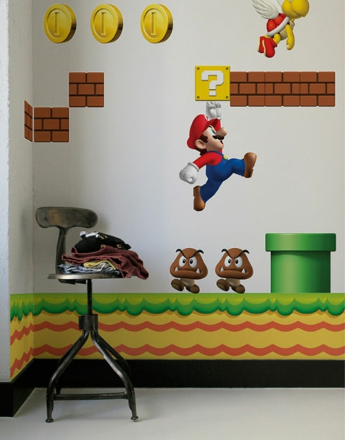super mario wand dekoration im kinderzimmer design