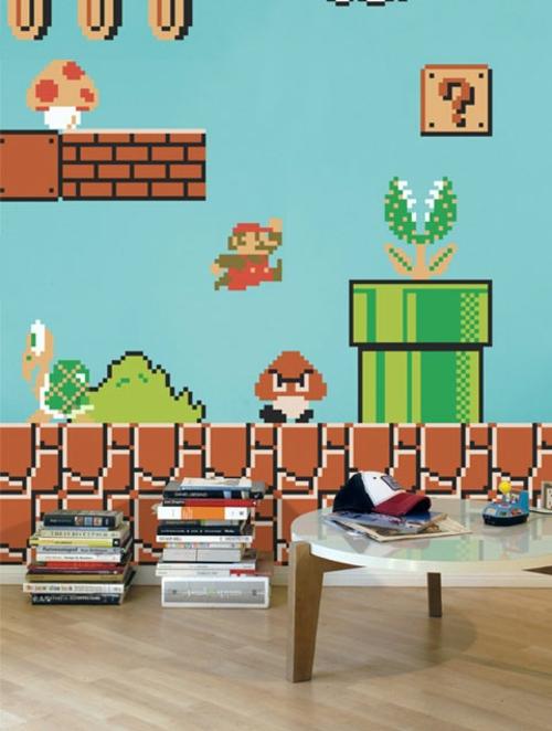 super mario wand dekoration im kinderzimmer von nintendo. Black Bedroom Furniture Sets. Home Design Ideas