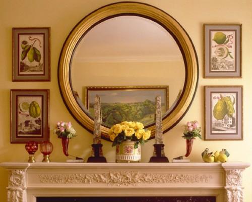 wand dekoration mit bildern nachttisch extravagant wandspiegel rund