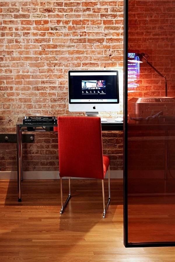 wandgestaltung mit ziegeln home office rot stuhl