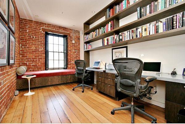 wandgestaltung mit ziegeln home office schreibtisch