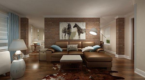 wandgestaltung mit ziegeln leder sofa braun tischlampe - Wandgestaltung Wohnzimmer