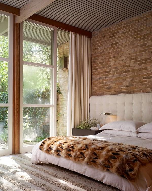 wandgestaltung mit ziegeln schlafzimmer bettdecken